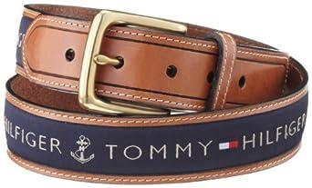 Tommy Hilfiger Men's Ribbon Inlay Belt,Navy,32