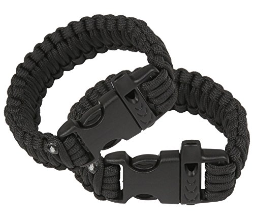 Attmu Outdoor Survival Paracord Bracelet with Fire Starter Scraper Whistle Kits, Set of 2