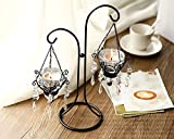 Zuwit Iron Tealight Holder Crystal Drop Table Candle Holder Chandelier Hanging Metal Glass Votive Candle Stand wedding Festival Party (White, two holder)