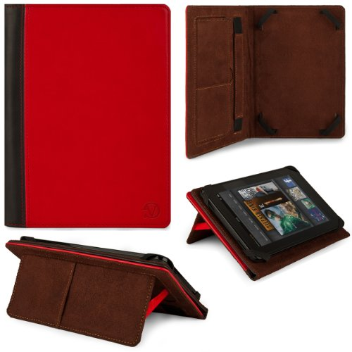 Coal-black - Red VG 2 Tone Leatherette Standing Case with Puzzling Stitching and Pull Out Stand for Kocaso M1070 / M1062 10 Android 4.1 JellyBean Tablets