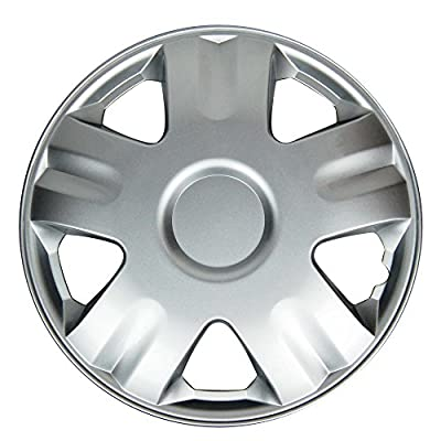"Silver 14"" Hub Caps Full Wheel Rim Covers w/Steel Clips (Set of 4) - KT-1005S-14"
