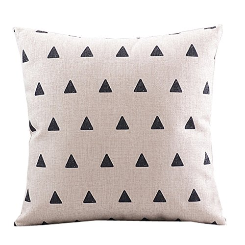 """Create For-Life Cotton Linen Decorative Pillowcase Throw Pillow Cushion Cover Square 18"""" Retro Small Up Triangle"""