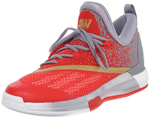 adidas Performance Men's Crazylight Boost 2.5 Low Basketball Shoes,White/Grey/Vivid Red,14 M US