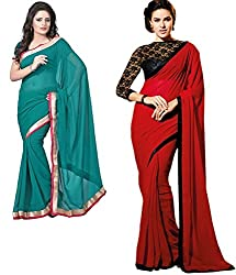 RockChin Fashions green and red sari with lace border.