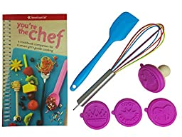 8-Piece Cooking Kit for Girls - Includes You\'re the Chef Cookbook Companion, 1 Whisk, 1 Spatula & 1 Silicone Cookie Stamp Set for Baking - A Perfect Unique Gift Idea for Pre- Teen Girls, Age 8-12