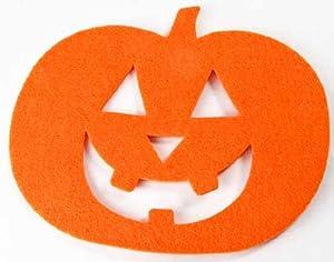 """Set of 12 Halloween Felt Jack-o-lantern Pumpkin Mat - 8"""" Wide X 6.5"""" Long"""