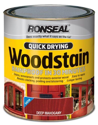 Ronseal QDWSDM750 750ml Woodstain Quick Dry Satin - Deep Mahogany