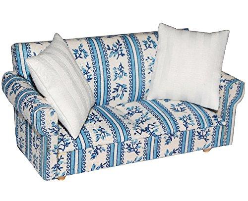 Miniatur Sofa / Couch mit 2 Kissen - für Puppenstube