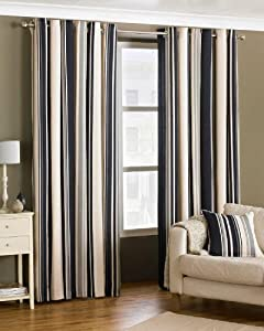 Davenport Black Cream 90x90 Striped Lined Ring Top Curtains #yawdaorb *riv* by PCJ Supplies