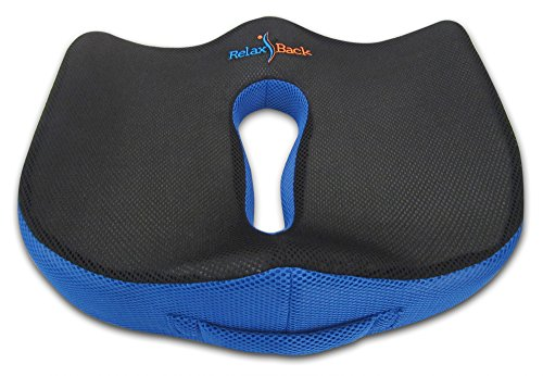 RELAX BACK COCCYX SEAT CUSHION: Lower Back Pain Relief Orthopedic Memory Foam Pad, for Office Chair & Car Seat Pillow, for Sciatica, Scoliosis, Herniated Disc, DDD, Compare to Drive Medical & Aylio (Seat For Back Pain compare prices)