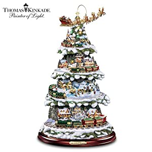 #!Cheap Thomas Kinkade Wonderland Express Animated Tabletop Christmas Tree With Train by Hawthorne Village