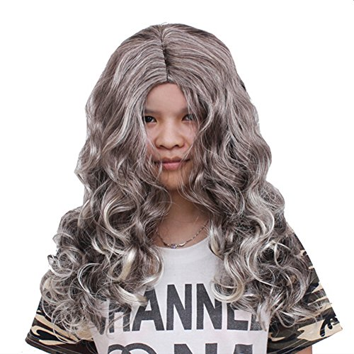 Nuotuo Halloween Long Wavy Witch Cosplay Costume Wig Grey