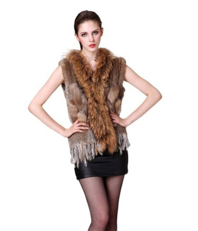 YR Lover Kanichen Pelz Weste Mantel&Waschbär Pelz Kragen online kaufen