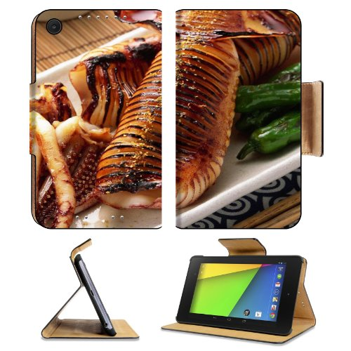 Grilled Octopus Fancy Tableware Food Asus Google Nexus 7 Fhd Ii 2Nd Generation Flip Case Stand Magnetic Cover Open Ports Customized Made To Order Support Ready Premium Deluxe Pu Leather 8 1/4 Inch (210Mm) X 5 1/2 Inch (120Mm) X 11/16 Inch (17Mm) Luxlady N front-242871