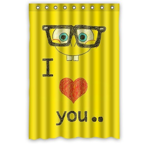 Custom Unique Design Funny I Love You Cartoon Spongebob Squarepants Waterproof Fabric Shower Curtain front-258829