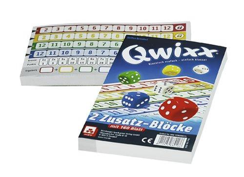 Nürnberger-Spielkarten 08819900015 - Qwixx-Zusatzblöcke 2er-Pack, Würfelspiel
