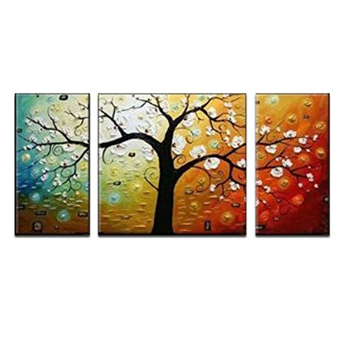 Wieco art 3 piece lucky tree stretched and framed hand for 3 piece wall art