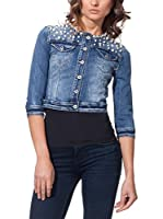 TIFFY &STAFF Cazadora Vaquera Denim Cropped With Pearls On Shoulders (Denim)