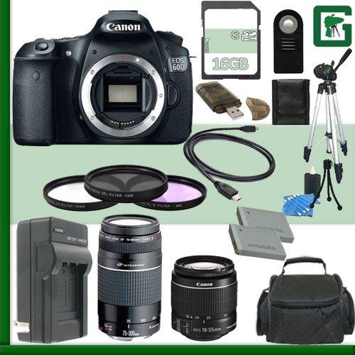 Canon Eos 60D Digital Slr Camera And Canon 18-55Mm Lens And Canon 75-300Mm Iii Usm Lens + 16Gb Green'S Camera Package 2