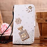 Incore Creative Samsung Galaxy ACE S5830/gt-s5839i Jewelry Bling Diamond Gem Leather Smart Case Cover With Magnetic Flip Horizontals & Card Holder - Winebottle Flower