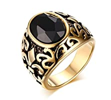 buy Mealguet Jewelry Stainless Steel Men Women Vintage Retro Gold Plated Glass Fashion Ring, Black
