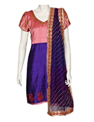 Kocktail-Raw Silk Kurta With Gotta Pathi And Lehariya Dupatta