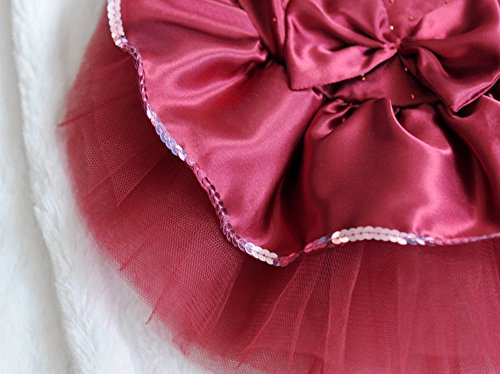 ONOR-Tech Lovely Cute Bling Bling Doggy Apparel Clothes Pet Puppy Dog Cat Bow Tutu Princess Dress Wedding Party Dress (Red, S)