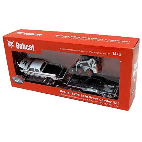 bobcat-chevy-pickup-trailer-s205-skid-steer-loader-set-150-scale