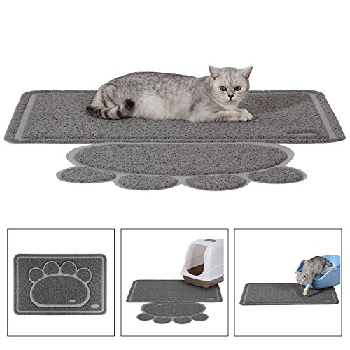 Ollieroo Premium Cat Litter Mat – XL Super Size – Best Extra Large Scatter Control Kitty Litter Mats for Cats Tracking Litter Out of Their Box – Soft to Paws- Elegant for Your Home Litter Mat Gray