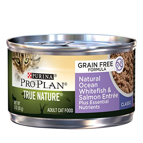 Purina Pro Plan Wet Cat Food, True Nature, Grain Free, Natural Ocean Whitefish & Salmon Entrée, 3-Ounce Can, Pack of 24 (Purina Pro Wet Cat Food compare prices)