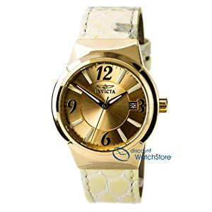 Invicta 15409 Women's Angel Gold Dial Gold Tone Steel Beige Leather Strap Watch