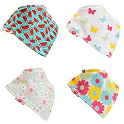 Zippy Fun Baby and Toddler Bandana Bib - Absorbent 100%cotton Front Drool Bibs Adjustable Snaps (4 Pack) Pink Yellow