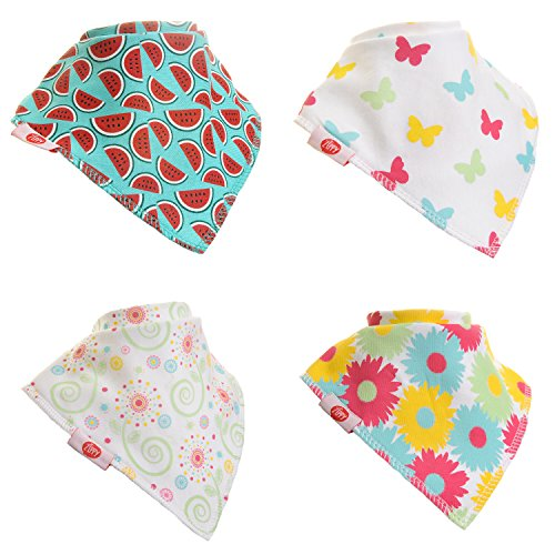 Zippy Fun Baby and Toddler Bandana Bib - Absorbent 100%cotton Front Drool Bibs with Adjustable Snaps (4 Pack) Girls Pink and Yellow