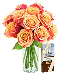 Bouquet of Long Stemmed Orange Roses (Dozen) and Scharffen Berger Chocolate - With Vase