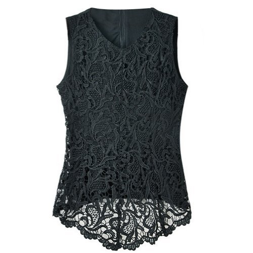 isassy womens ladies sexy hot sheer lace sleeveless embroidery floral