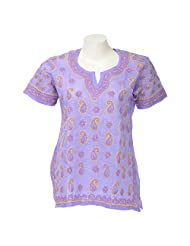 Lucknow Chikan Industry Women Cotton Chikankari Purple Round Neck Kurti