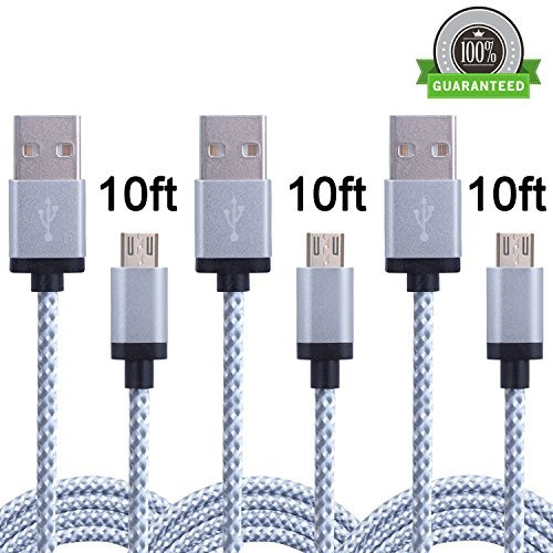 Amoner 3Pack 10ft Nylon Braided High Speed USB 2.0 A Male to Micro USB Male Cable, Data Sync Cable Cord For Android, Samsung, HTC, Motorola, Blackberry Smartphones, Tablets,1 Year Warranty (Phone Service Extender compare prices)