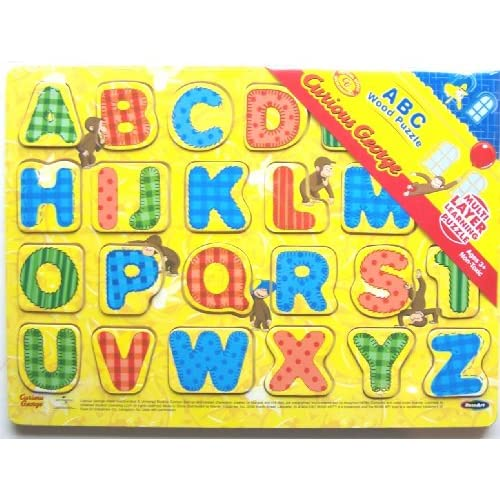 Amazon.com: Curious George ABC Wood Alphabet Puzzle RoseArt