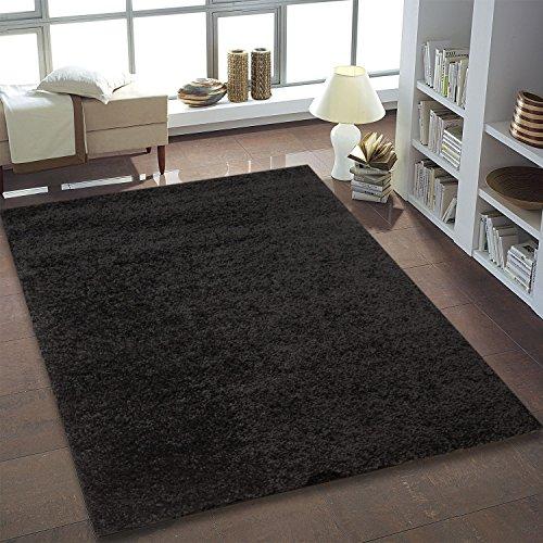 Teppich-Shaggy-Hochflor-Einfarbig-Wohnzimmer-Schwarz-Neu-ko-Tex-200x200-cm-Quadrat