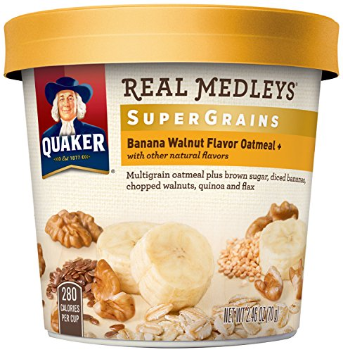 Quaker Real Medleys Super Grains Oatmeal+, Banana Walnut, Instant Oatmeal+ Breakfast Cereal, (Pack of 12) (Quaker Multigrain Hot Cereal compare prices)