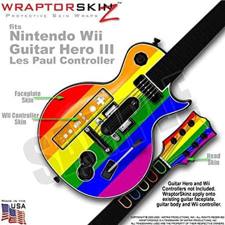 Rainbow Stripes Skin by WraptorSkinz TM fits Nintendo Wii Guitar Hero III (3) Les Paul Controller (GUITAR NOT INCLUDED)