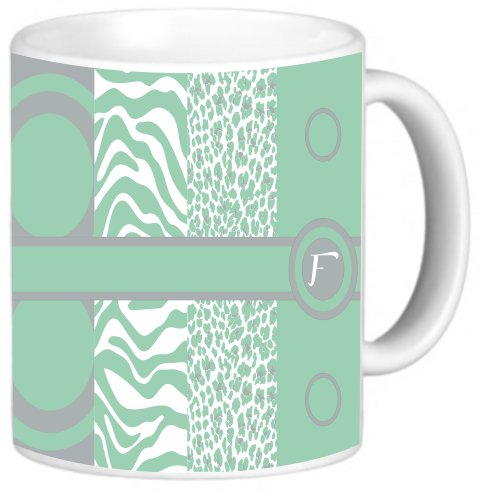 Rikki Knighttm Letter F Monogrammed Initial Mint Green - Animal Prints Leopard Zebra - Spring Fashion Colors 2014 - Design 11 Oz Photo Quality Ceramic Coffee Mug Cup - Fda Approved - Dishwasher And Microwave Safe