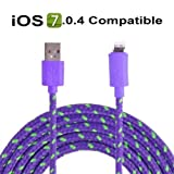 3 metre Blue 8 Pin Charger Cable and Sync Lead,Unbreakable Braided Cable compatible with iPhone 5,5c,5s,iPad Mini, 4G,iPod Touch 5G,Nano 7G