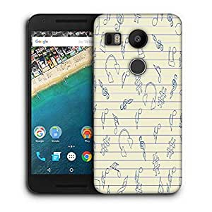 Snoogg Music Sketch Printed Protective Phone Back Case Cover For LG Google Nexus 5X