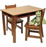 Lipper International Child's Rectangular Table and 2-Chair Set, Pecan