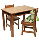 Lipper International Childs Rectangular Table and 2-Chair Set, Pecan