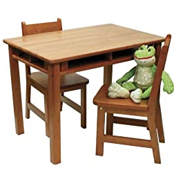Lipper International 534P Child\'s Rectangular Table and 2-Chair Set, Pecan