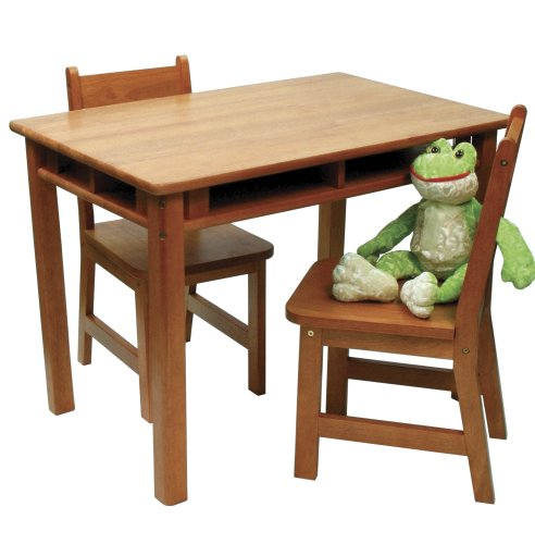 Lipper International Child's Rectangular Table and 2-Chair Set, Pecan