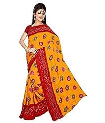 SB Creations Women's Bandhani Saree (SB_128-Red)