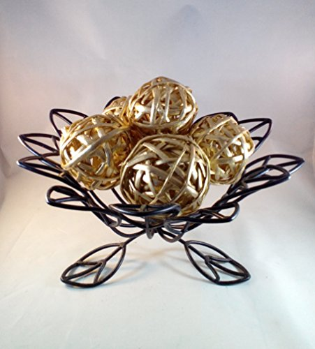 Decorative Spheres (Gold) Rattan Vase Filler Christmas Ornament Decoration Holiday Bowl Filler 8 - 10 CM Kamboi Balls By Wreaths For Door